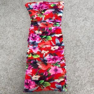 Express Floral Stretchy Tube Top Dress